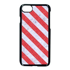 Stripes3 White Marble & Red Colored Pencil Apple Iphone 8 Seamless Case (black) by trendistuff