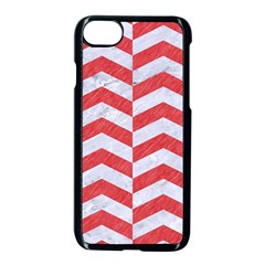 Chevron2 White Marble & Red Colored Pencil Apple Iphone 8 Seamless Case (black) by trendistuff