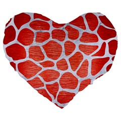 Skin1 White Marble & Red Brushed Metal (r) Large 19  Premium Flano Heart Shape Cushions by trendistuff
