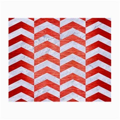Chevron2 White Marble & Red Brushed Metal Small Glasses Cloth (2 Side) by trendistuff