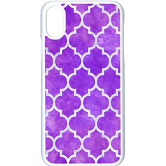 Tile1 White Marble & Purple Watercolor Apple Iphone X Seamless Case (white) by trendistuff