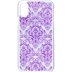Damask1 White Marble & Purple Watercolor (r) Apple Iphone X Seamless Case (white) by trendistuff