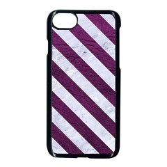 Stripes3 White Marble & Purple Leather Apple Iphone 8 Seamless Case (black) by trendistuff