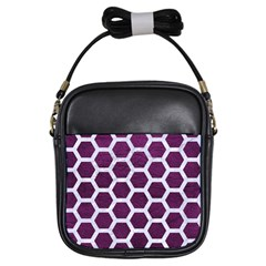 Hexagon2 White Marble & Purple Leather Girls Sling Bags by trendistuff