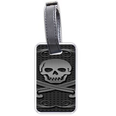 Skull Metal Background Carved Luggage Tags (two Sides) by Sapixe