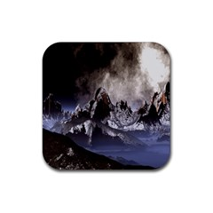 Mountains Moon Earth Space Rubber Square Coaster (4 Pack)  by Sapixe