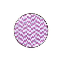 Chevron1 White Marble & Purple Glitter Hat Clip Ball Marker (4 Pack)