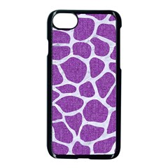 Skin1 White Marble & Purple Denim (r) Apple Iphone 8 Seamless Case (black) by trendistuff