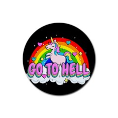 Go To Hell   Unicorn Rubber Coaster (round)  by Valentinaart