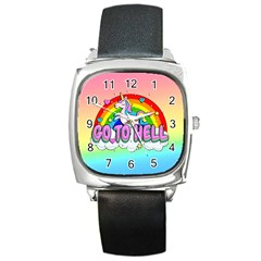 Go To Hell   Unicorn Square Metal Watch by Valentinaart