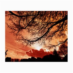 Tree Skyline Silhouette Sunset Small Glasses Cloth (2 Side)
