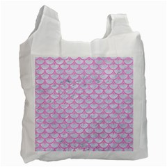 Scales3 White Marble & Pink Colored Pencil (r) Recycle Bag (one Side) by trendistuff