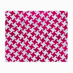 Houndstooth2 White Marble & Pink Leather Small Glasses Cloth (2 Side) by trendistuff