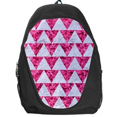 Triangle2 White Marble & Pink Marble Backpack Bag by trendistuff