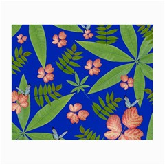 Leaves On Blue Small Glasses Cloth (2 Side) by LoolyElzayat