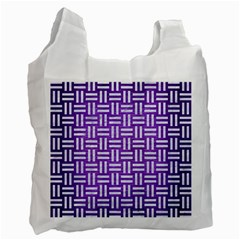 Woven1 White Marble & Purple Brushed Metal Recycle Bag (one Side) by trendistuff