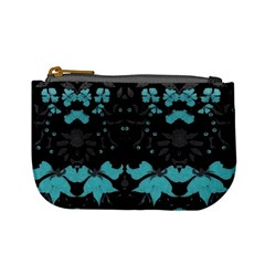 Blue Green Back Ground Floral Pattern Mini Coin Purses