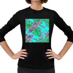 Painting Oil Leaves Nature Reason Women s Long Sleeve Dark T Shirts