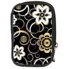 Beautiful Gold And White Flowers On Black Compact Camera Cases by flipstylezdes