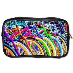 Colorful Bicycles In A Row Toiletries Bags 2 Side by FunnyCow