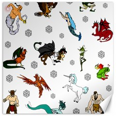 Dundgeon And Dragons Dice And Creatures Canvas 12  X 12   by ImphavokImpressions