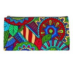 Pop Art Paisley Flowers Ornaments Multicolored 2 Pencil Cases by EDDArt