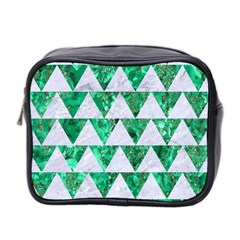 Triangle2 White Marble & Green Marble Mini Toiletries Bag 2 Side by trendistuff