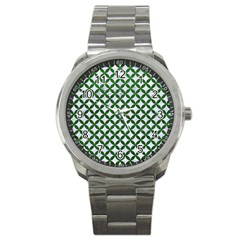 Circles3 White Marble & Green Leather (r) Sport Metal Watch