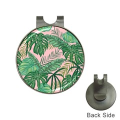 Tropical Greens Leaves Design Hat Clips With Golf Markers by Sapixe
