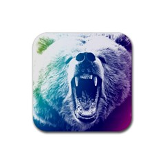 Bear Grizzly Wallpaper Rubber Square Coaster (4 Pack)  by AnjaniArt