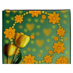 Background Design Texture Tulips Cosmetic Bag (xxxl) by Nexatart