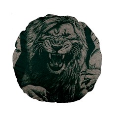 Angry Male Lion Pattern Graphics Kazakh Al Fabric Standard 15  Premium Round Cushions by Sapixe