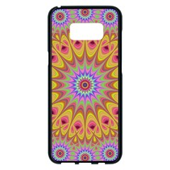 Geometric Flower Oriental Ornament Samsung Galaxy S8 Plus Black Seamless Case