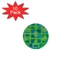 Green Abstract Geometric 1  Mini Buttons (10 Pack)  by Sapixe