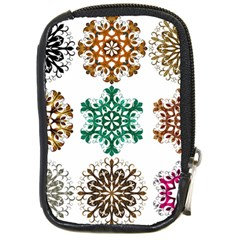 A Set Of 9 Nine Snowflakes On White Compact Camera Leather Case by Jojostore