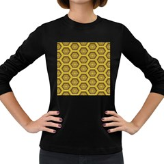 Golden 3d Hexagon Background Women s Long Sleeve Dark T Shirt