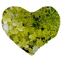 Elegant Chartreuse Green Limelight Hydrangea Macro Large 19  Premium Flano Heart Shape Cushions by myrubiogarden